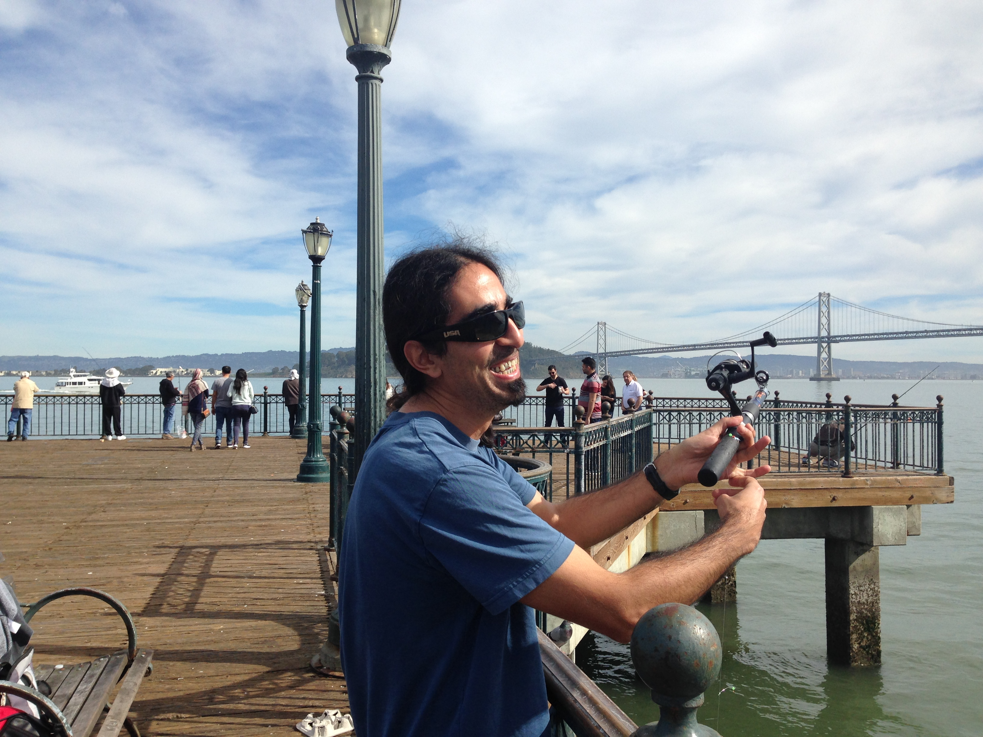 Ahmet fishing in SF Bay
